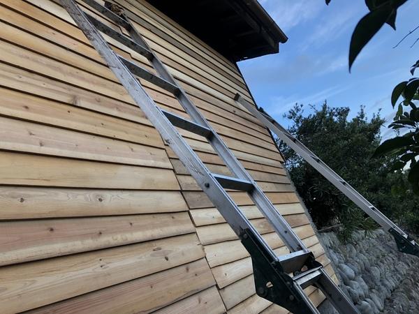 今日は、小屋を修理中。