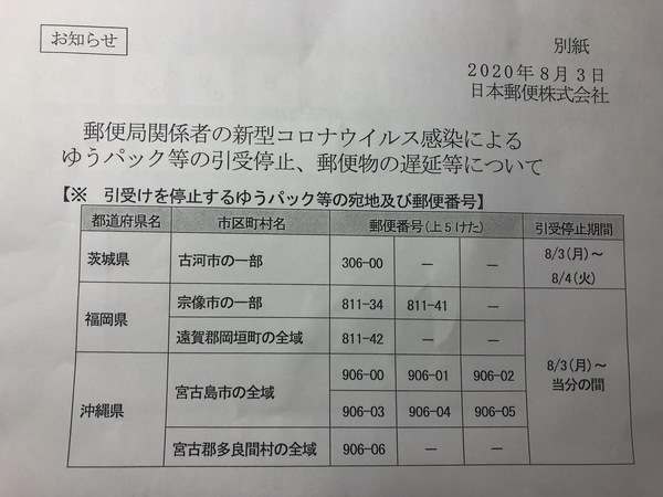 新型コロナによる、配達一時停止地域について(8月3日付け)