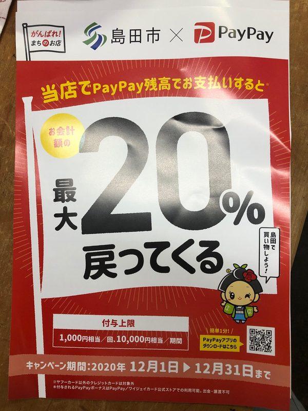 PayPay残高ご利用で20%PayPayポイント戻ってくる!
